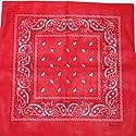 large RED cotton bandana scarf BLACK & WHITE PAISLEY