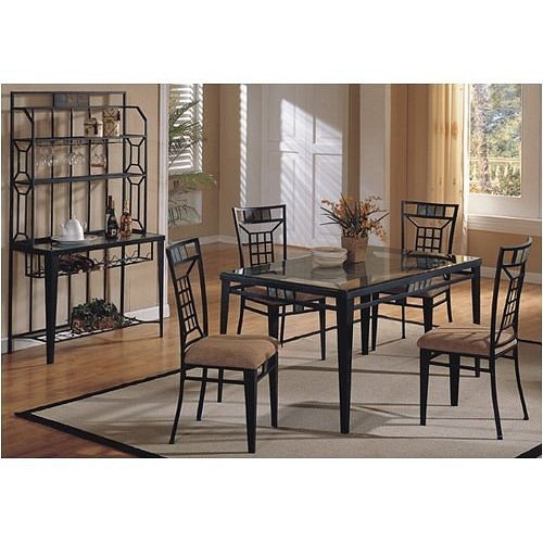 Image of New 36''x60'' 8mm Glass Top Dining Table Set W/ 4 Chair (VF_AZ02-14275)