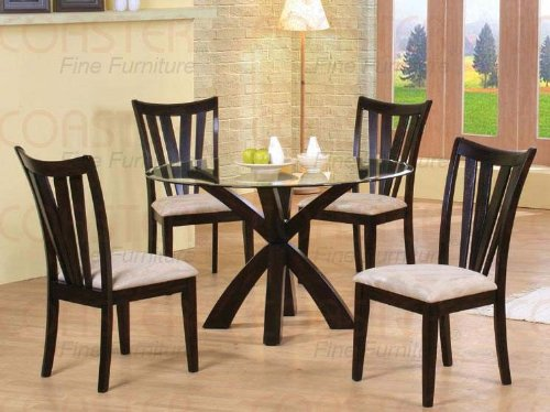 Image of 5pc Casual Dining Table & Chairs Set with Glass Top Cappuccino Finish (VF_Dinset-101071-101072)