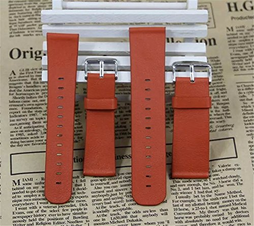Pebble-Time-Watch-Band-Monoy-Genuine-Real-Leather-Strap-Wrist-Band-Replacement-With-Metal-Clasp-Connector-for-Pebble-Time-Orange-Leather-Band