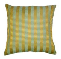 Amazon.com: 17x17 Teal Green and Gold Stripes Chenille ...