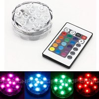 BINZET IR Remote Controlled RGB Submersible LED Lights AA ...