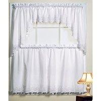 Amazon.com - Battenburg White Kitchen Curtains - Swags ...