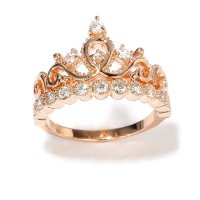 Sterling Silver Crown Ring / Princess Ring (Rose Gold ...