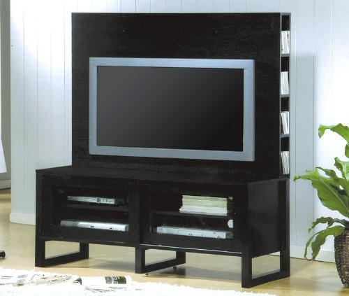 Image of Black Flat Panel TV Stand with Hutch Entertainment Center (VF_700172H-700172T)