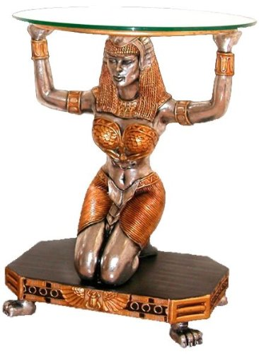 Image of Ancient Egyptian Goddess Statue Sculpture Glass Console Foyer Hall Table (NE867002)
