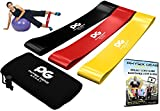Resistance Loop Bands Set by Physix Gear Sport w/ Free Ebook + Onine Video Guide + Storage Bag (Set of 3 Bands - Yellow Black Red) 10x2in