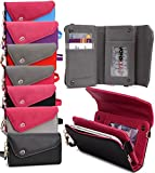 Universal Women's Wallet Shoulder Bag with Wrist Strap Phone Clutch - PURPLE & PINK| o Joy Plus|Oppo Mirror 3\Oppo Neo 5 (2015)|Oppo Neo 5s