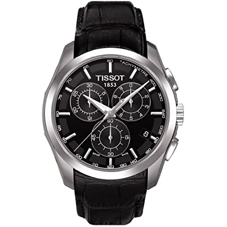 Cap off your wardrobe with the clean lines and sleek styling of this Tissot watch. This elegant watch is centered on its 41mm silver stainless steel case and bold black dial, and the sharp silver hands and silver details tastefully compliment any att...
