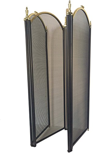 4 Panel Outdoor Large Gold Fireplace Screen Wrought Iron