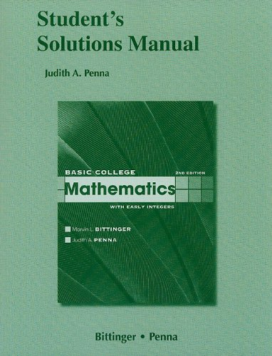 Student Solutions Manual for Basic College Mathematics with Early Integers