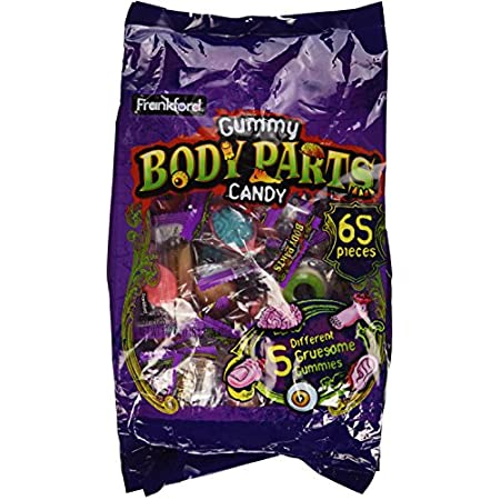 Contains 65 pieces (body parts). 5 Different Gruesome Body Parts Individually Wrapped.