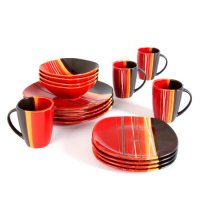 Home Trends 61590.16rm Bazaar Red 16-Piece Square ...