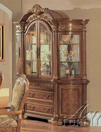Image of China Cabinet Buffet Hutch in Brown Finish (VF_AM0934)