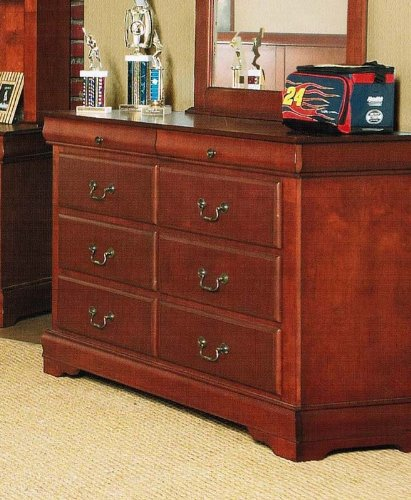 Image of Kid's Bedroom Storage Dresser with Traditional Style Design in Brown Cherry Finish (VF_AP-3705)