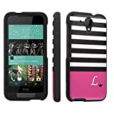 Htc Desire 520 Case, [SkinGuardz] Black Form Fit Fancy Protection Case - [Black Pink Stripe L Monogram] Print Design