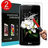 LG K7 Screen Protector,LG K7 Tempered Glass Screen Protector,Creativecase 2 Pack[Anti-Bubble][9H Hardness][HD Clear] Tempered Glass Screen Protector for LG K7/ LG Tribute 5