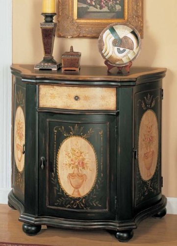 Image of Console Table Bombe Chest Black Finish (VF_AM9165)