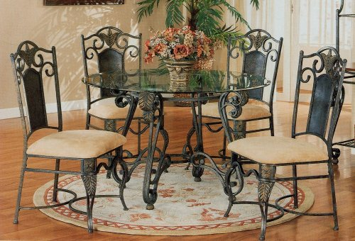 Image of 5pc Antique Brass Metal Dining Table w/Glass Top & Chairs Set (VF_dinset-120021-120022)