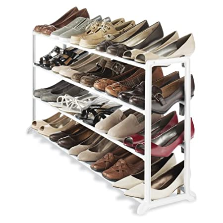This 20 pair shoe rack is made with a durable white resin frame and requires no tools to assemble. It fits under most hanging clothes and is perfect in your home, office or dorm room.