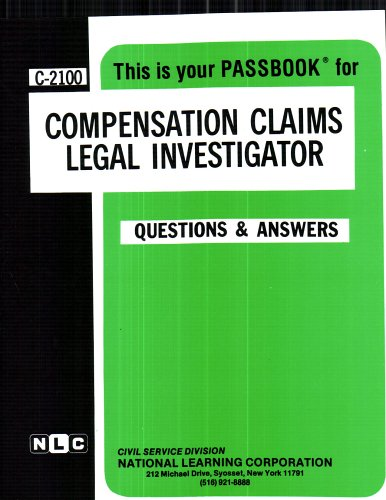 Compensation Claims Legal Investigator(Passbooks)