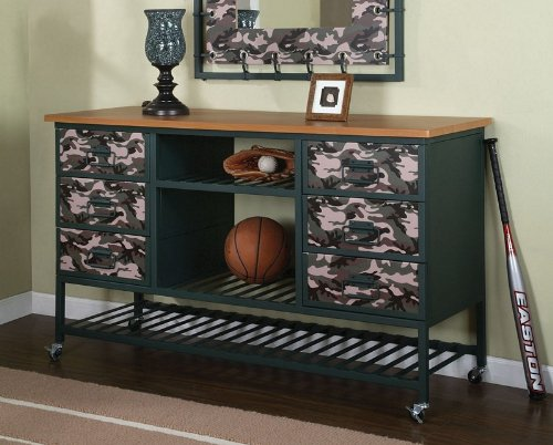 Image of Kids Bedroom Storage Dresser with Army Camouflage Design and Dark Green Frame (335-006)