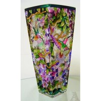 Flower Hummingbird Stained Glass Bird Flower Vase