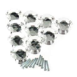 10Pc-40mm-Kristallglas-Diamant-Form-Kabinett-Knob-Schublade-ziehen-Handgriff-Kche
