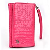 AlphaSpek Faux Patent Leather Crocodile Embossed Phone Wallet Wristlet Clutch for Lenovo Vibe P1m Shot X2 X S1, P70 A5000 S60, Wild Pink
