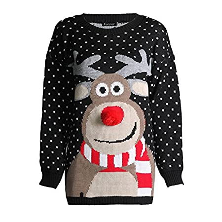 New Unisex Rudolph print knitted unisex christmas jumper, Nose red pom pom, Long sleeves styling, Soft & Stretchy knit fabric