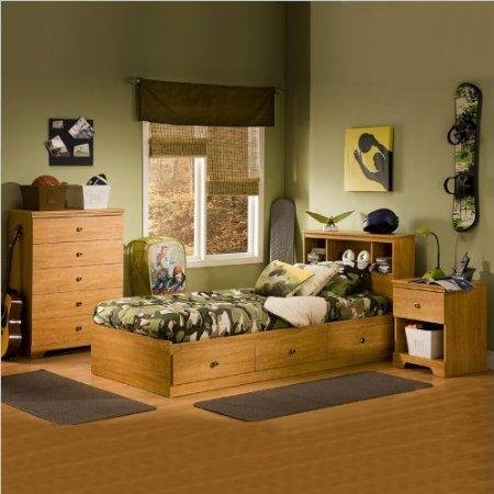Image of South Shore Brinley Kids Twin Wood Captain's Bed 4 Piece Bedroom Set in Florence Maple (3575-PKG)