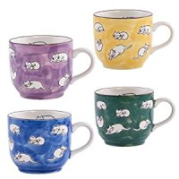 Amazon.com | 16 oz. Oversized Porcelain Cat Mugs (Set of 4 ...
