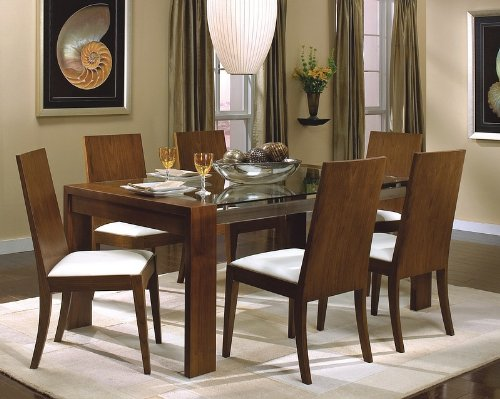 Image of Dining Table with Glass Top in Rich Walnut - Coaster (VF_AZ00-28154x29139)