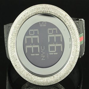 5-Carat-Diamond-Bezel-Digital-2-Time-Zone-Authentic-I-Gucci-Silicon-Band-Watch