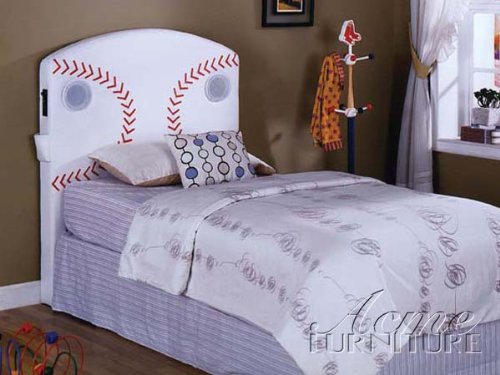 Image of Twin Size Kids Youth Headboard with Speakers in Baseball Design (B003UTSADC)