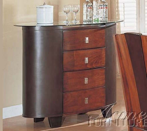 Image of Server Sideboard with Glass Top Antique Oak Finish (VF_AM8448)