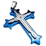 Men,Women's Stainless Steel Pendant Necklace CZ Blue Silver Cross Vintage Polished -with 23 inch Chain