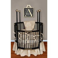 Baby Doll Bedding Sensation Round Crib Bedding Set, Gold ...