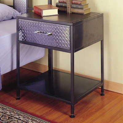 Image of Monster Kids Nightstand with Chrome Plated Drawer Front in Charcoal Finish (B0070YUMBG)