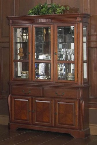 Image of China Cabinet Buffet Hutch with Reeded Design in Brown Cherry Finish (VF_AP-601-5-6)