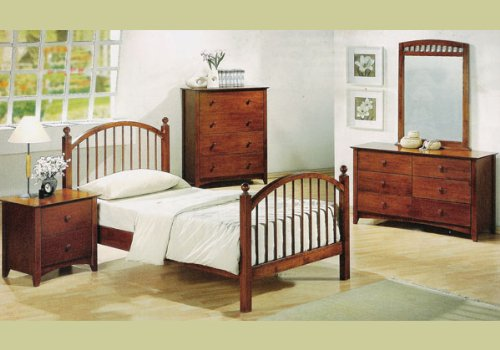 Image of Kids Oak Wooden Twin Bedroom Furniture Set Wood Bed (B001DDLJZS)