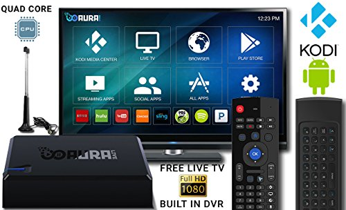 Aura Live - Smart TV Streaming Box - Quad Core Android TV Box Built in PVR - Free Sports/News/Movies/TV - QWERTY Wireless Remote - Kodi Media Center
