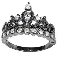 Guliette Verona Sterling Silver Princess Crown Ring (Black ...