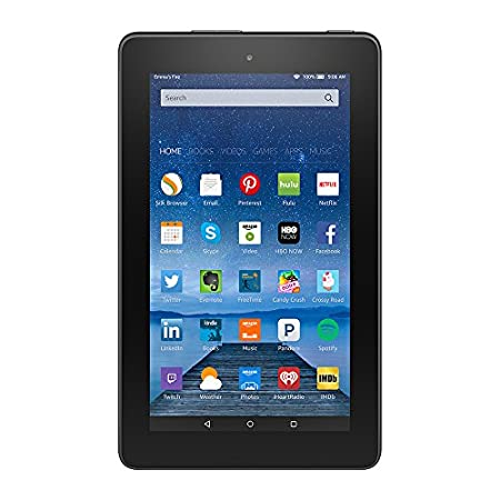 "Powerful, full-featured Fire tablet—with beautiful 7"" IPS display, fast 1.3 GHz quad-core processor, rear and front facing cameras, and up to 128 GB of expandable storage. Tiny price. Big Fun. Fast and responsive The fast quad-core processor consis..."