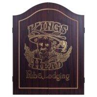 King's Head Dark Wood Dartboard Cabinet Set Sporting Goods ...