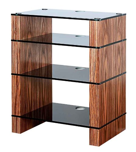 Image of BLOK STAX DeLuxe 400 Four Shelf Zebrano Hifi Audio Stand & AV TV Furniture Rack Unit (B008AHJ84Y)