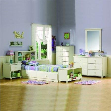 Image of South Shore Sand Castle Kids Twin Wood Mates Storage Bed 5 Piece Bedroom Set in White (3660-PKG)