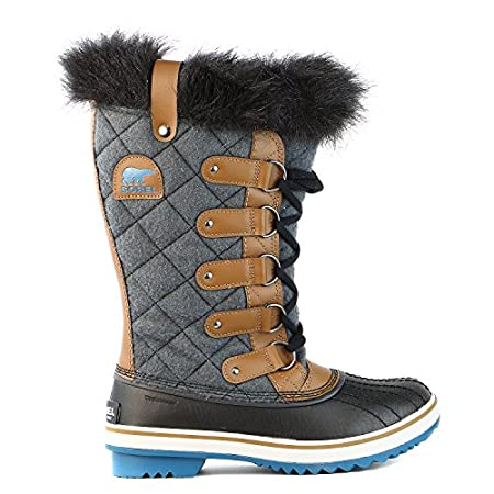 Quilted felt brings a luxe look to these waterproof Sorel boots. Felt lining and faux-fur trim add coziness and warmth. D-ring hardware accents the lace-up closure. Lug sole.