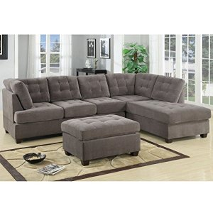 1PerfectChoice-3PC-Modern-Reversible-Chaise-Sofa-Couch-Sectional-Seat-Ottoman-Waffle-Suede
