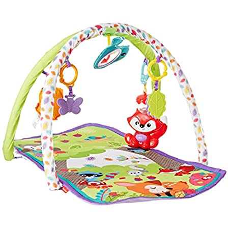 Portable activity gym keeps baby busy with toys, sounds, and music. Five linkable toys plus an adorable take-along musical fox with fun sounds and two music modes keep baby busy on a comfy, padded, portable activity play mat with two soft play gym ar...